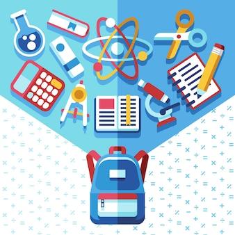 Conceito de educação com mochila e suprimentos