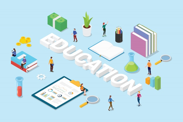 Conceito de educação com texto de palavras grandes e equipe pessoas livros e ícone de sinal de objeto de ciência