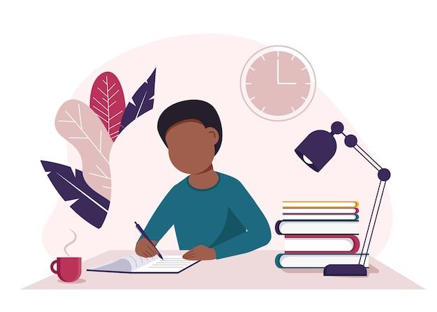 Conceito de educação com um menino escrevendo em um livro