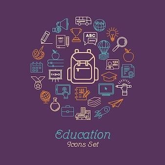 Conceito de educação de linha redonda para voltar para a escola