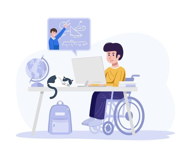 Conceito de educação em casa. criança com deficiência aprendendo com o computador em casa.
