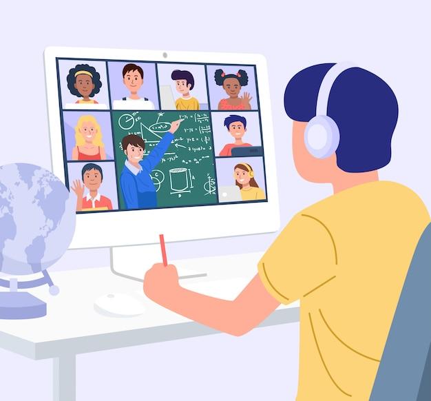 Conceito de educação em casa. um menino aprendendo com o computador em casa. vetor
