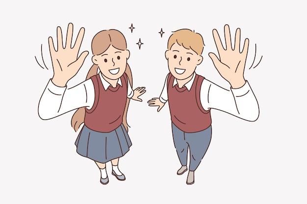 Conceito de educação, estudo e conhecimento. alunos de meninos e meninas sorridentes em pé, acenando com as mãos, olhando para a câmera, mostrando ilustração vetorial de excitação