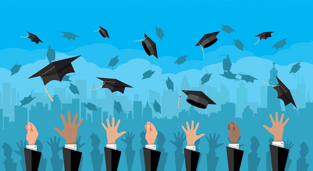 Conceito de educação. faculdade, cerimônia universitária