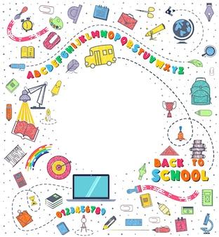 Conceito de educação. fundo da escola com material escolar desenhado a mão.