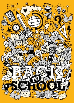Conceito de educação. fundo escolar com material escolar mão desenhada com letras de volta às aulas no estilo pop art