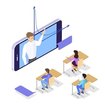 Conceito de educação. ideia de aprendizagem e conhecimento. estude online. ilustração isométrica
