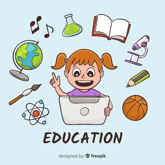 Conceito de educação linda mão desenhada