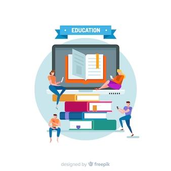 Conceito de educação moderna com design plano