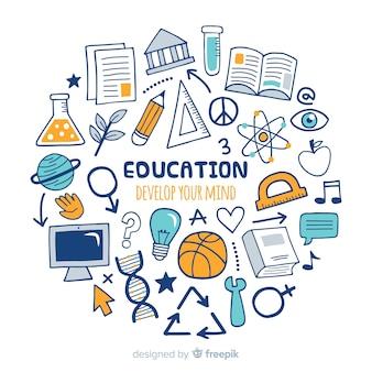 Conceito de educação moderna mão desenhada