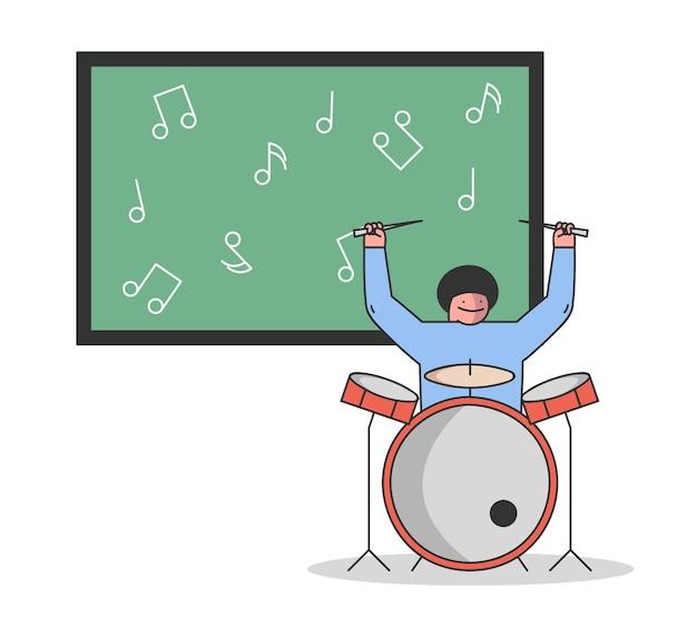 Conceito de educação musical. o menino está aprendendo a tocar instrumentos musicais.
