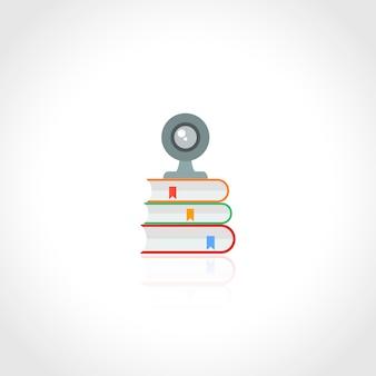 Conceito de educação on-line com a câmera da web e ícone de livro isolado na ilustração vetorial de fundo branco