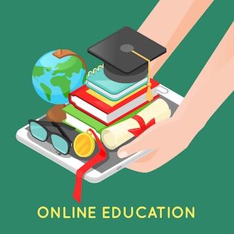 Conceito de educação on-line com tablet digital e livros escolares.