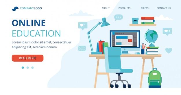 Conceito de educação on-line com uma mesa de estudante, computador, lâmpada e livros.