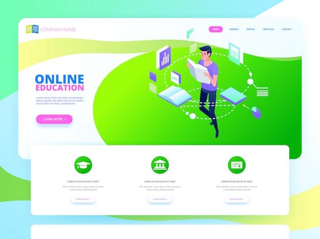 Conceito de educação on-line. ilustração vetorial isométrica
