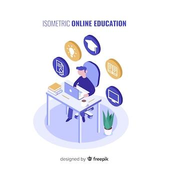 Conceito de educação on-line isométrica