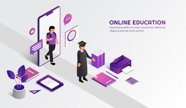 Conceito de educação on-line moderno isométrica, aprender a forma casa pelo curso de e-learning