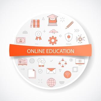 Conceito de educação online com conceito de ícone com ilustração vetorial de forma redonda ou circular