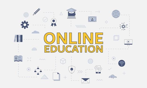 Conceito de educação online com conjunto de ícones com grande palavra ou texto no centro de ilustração vetorial