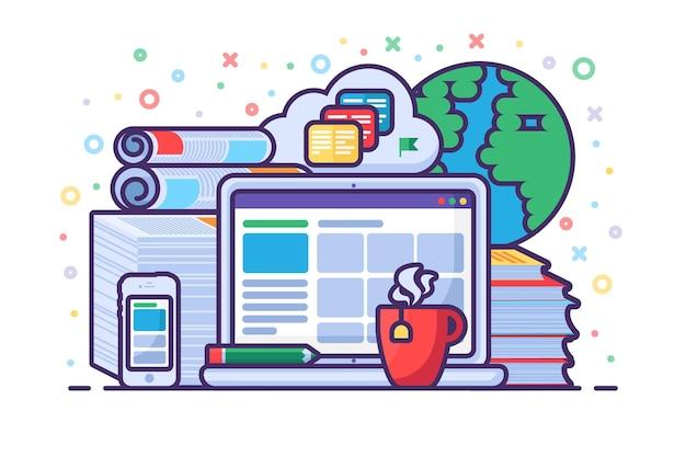 Conceito de educação online com laptop, gadgets, livros e tecnologia de computação em nuvem para e-learning, treinamentos e cursos online. ensino digital e a distância. ilustração vetorial