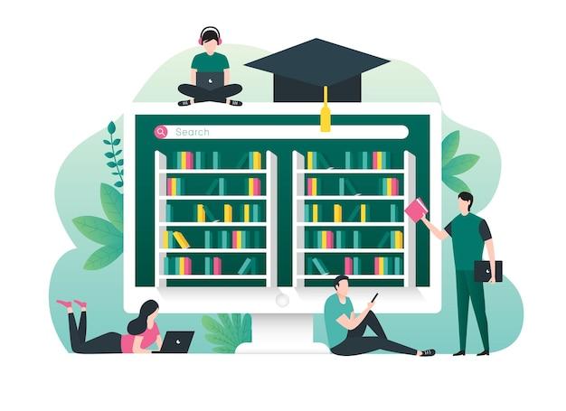 Conceito de educação online com livros da biblioteca digital