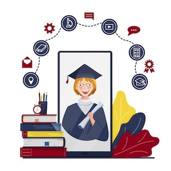 Conceito de educação online com personagem na tela do smartphone
