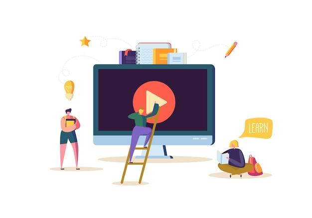 Conceito de educação online. e-learning com flat people watching video streaming course no computador. personagens de estudantes universitários de graduação.