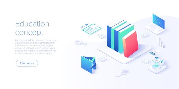 Conceito de educação online em design isométrico. treinamentos à distância pela internet e cursos de aprendizagem ou plataforma educacional. modelo de site.