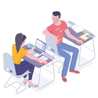 Conceito de educação online. jovens estudantes se comunicam em aulas universitárias. cursos de treinamento, crescimento pessoal, estudos universitários.