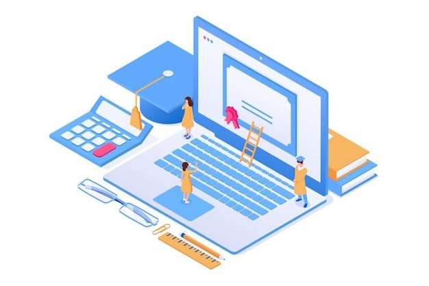 Conceito de educação online pessoas laptop dominam capcalculator livros e óculos vector