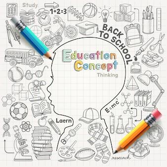 Conceito de educação pensando doodles conjunto de ilustração.