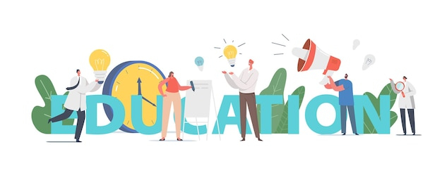 Conceito de educação. pessoas ganham conhecimentos, personagens masculinos e femininos aprendendo na universidade ou faculdade, comunicação de alunos e tutores, cartaz de estudo, banner, folheto. ilustração em vetor de desenho animado