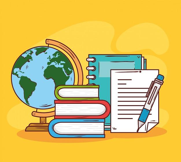 Conceito de educação, pilha de livros com material escolar, desenho de ilustração vetorial