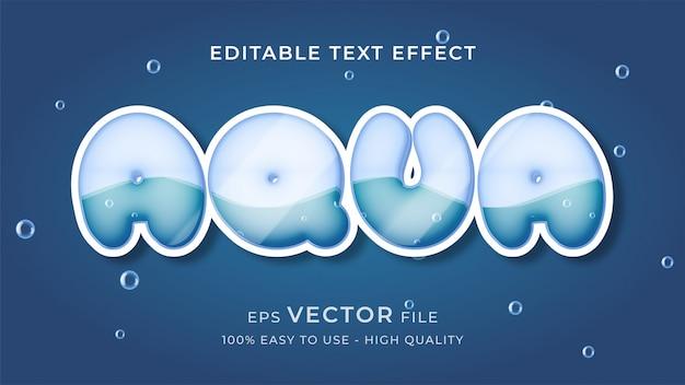 Conceito de efeito de texto editável de água