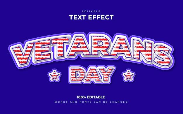 Conceito de efeitos de texto editável 3d do dia dos veteranos