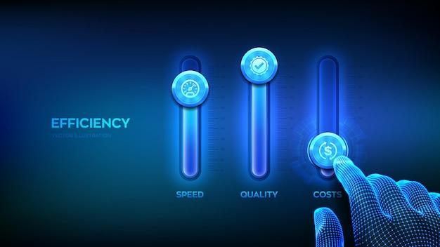 Conceito de eficiência painel de controle de processos de negócios para qualidade, velocidade e custos wireframe com ajuste manual de níveis de eficiência mixer console de mistura desenvolvimento e crescimento de negócios