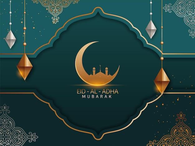 Conceito de eid-al-adha mubarak com lua crescente dourada
