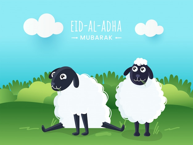 Conceito de eid al-adha mubarak com os dois carneiros dos desenhos animados na natureza verde e no fundo dos azul-céu.