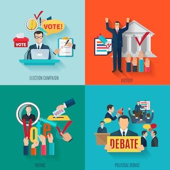 Conceito de eleição definido com votação e debate político ícones planas