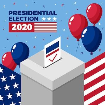 Conceito de eleição presidencial dos eua em 2020 com balões
