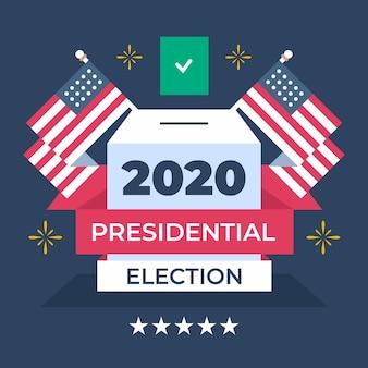 Conceito de eleição presidencial dos eua em 2020 com bandeiras