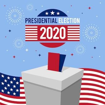 Conceito de eleição presidencial dos eua em 2020 com fogos de artifício