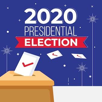 Conceito de eleição presidencial dos eua em 2020 com urna