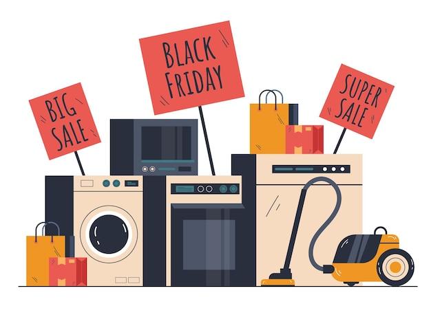 Conceito de elemento de design com desconto de venda de eletrodomésticos black friday