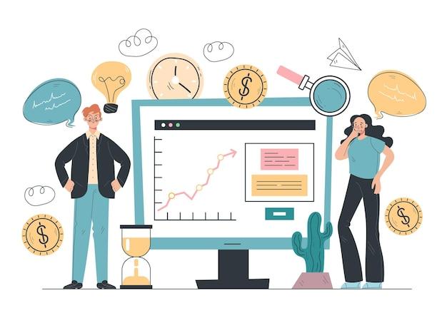 Conceito de elemento de design de análise financeira