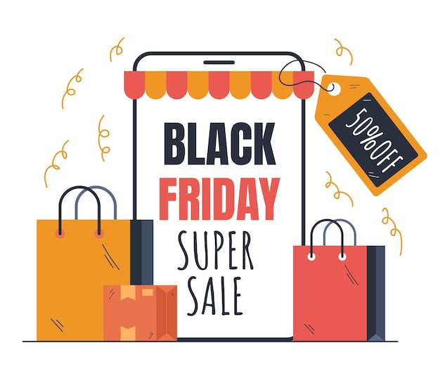Conceito de elemento de design de compras on-line da black friday