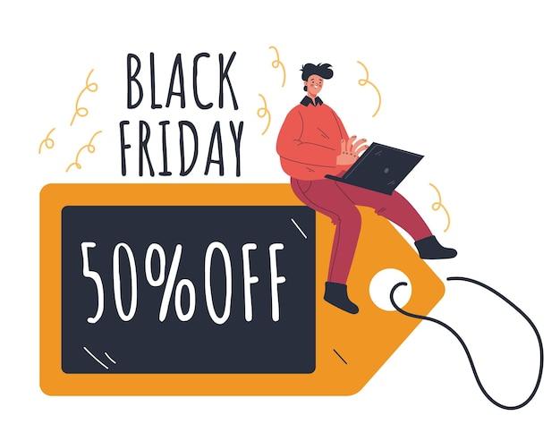Conceito de elemento de design de compras on-line de venda de cupons da black friday