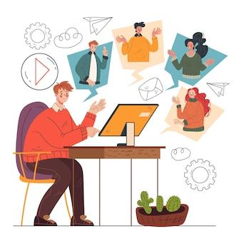 Conceito de elemento de design de conferência de negócios online
