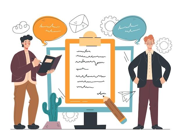 Conceito de elemento de design de contrato de negócio online