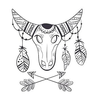 Conceito de elemento de design de esboço de touro estilo boho